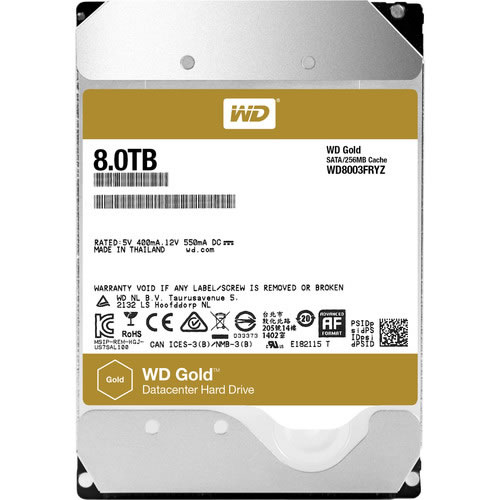 Disco Duro  8TB Gold   256mb 7200rpm SATA3  pn WD8003FRYZ